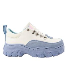 Biało-niebieskie damskie obuwie sportowe PF5329 białe