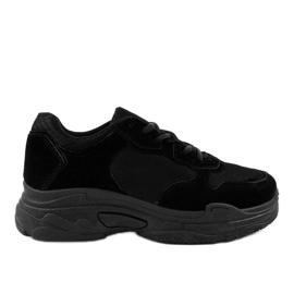 Czarne zamszowe obuwie sportowe damskie R-372
