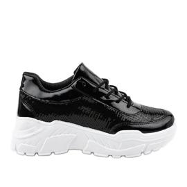 Czarne obuwie sportowe z cekinami W-3118