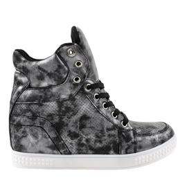 Gemre Czarne sneakersy na koturnie sznurowane ON001