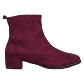 Sweet Shoes czerwone Stylowe Zamszowe Botki