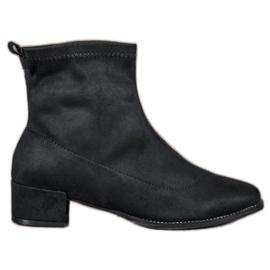Sweet Shoes czarne Stylowe Zamszowe Botki