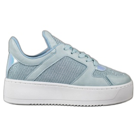 Ideal Shoes Sneakersy Z Brokatem niebieskie