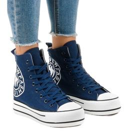 Granatowe sneakersy na koturnie W08