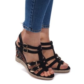 Czarne Sandały Na Koturnie 5H5671 Czarny