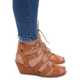 Brązowe Sznurowane Sandały Na Koturnie LL-115 Camel