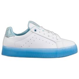 SHELOVET Białe Buty Sportowe niebieskie