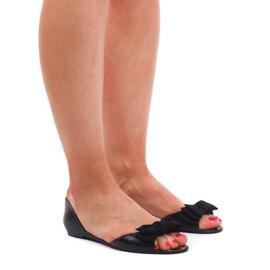 Czarne Sandały Klapki Meliski KM01 Czarny