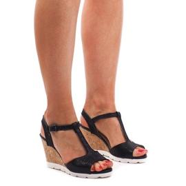 Czarne Sandały Na Koturnie YH2709 Czarny