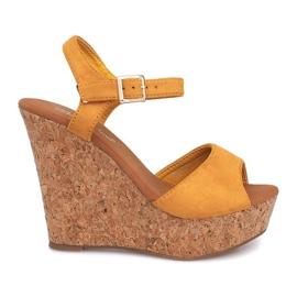 Żółte Sandały Na Koturnie Korek 5H5654 Żółty
