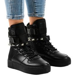 Czarne sneakersy płaskie sznurowane Y-205