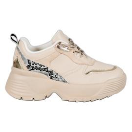 Beżowe Sneakersy VICES brązowe