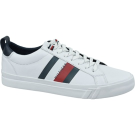 Buty Tommy Hilfiger Flag Detail Leather Sneaker M FM0FM02576-YBR białe