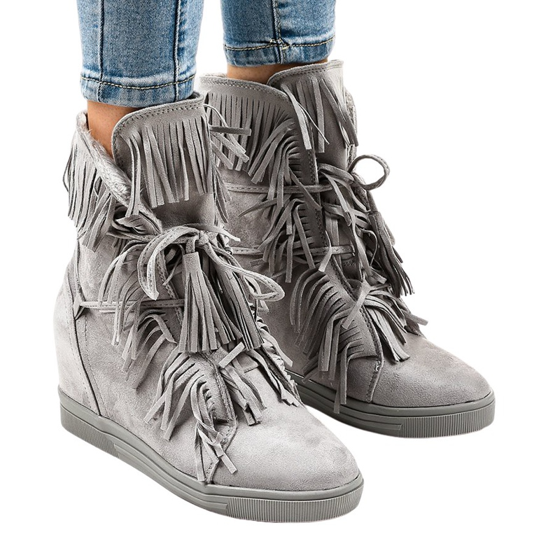 Szare sneakersy na koturnie z frędzlami H6600-36