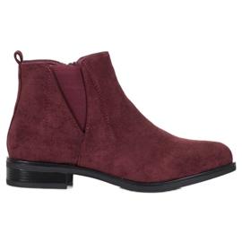 Ideal Shoes Wsuwane Botki czerwone