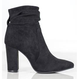 Ideal Shoes Zamszowe Botki Na Słupku czarne