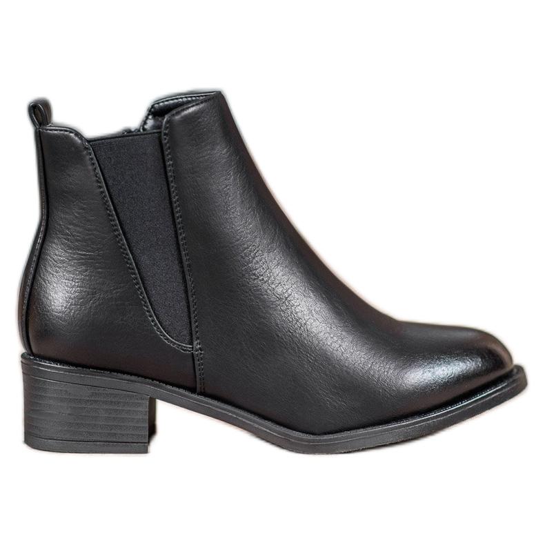Ideal Shoes Klasyczne Botki Z Gumką czarne
