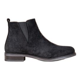 Ideal Shoes Wsuwane Botki czarne