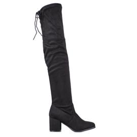 Ideal Shoes Zamszowe Muszkieterki czarne