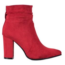 Ideal Shoes Zamszowe Botki Na Słupku czerwone