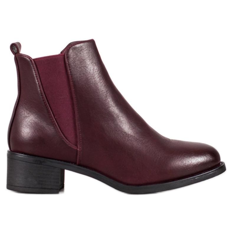Ideal Shoes Klasyczne Botki Z Gumką czerwone