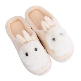 Kapcie damskie króliczki beżowe MA01 Beige beżowy
