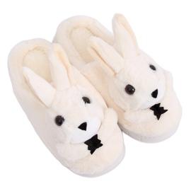Kapcie damskie króliczki beżowe MA17 White brązowe