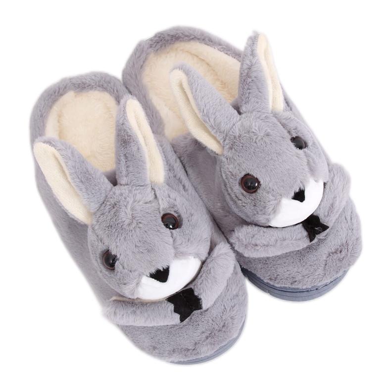 Kapcie damskie króliczki szare MA17 Grey