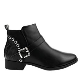 Czarne płaskie botki z gumką i suwakiem Y8159