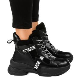 Czarne damskie sneakersy ocieplane F803-7