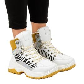 Białe damskie sneakersy ocieplane F-19208-2