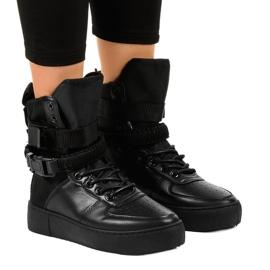 Czarne sneakersy płaskie sznurowane Y-207
