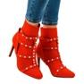 Czerwone botki na szpilce z tkaniny AT-0655-L