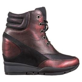 Sergio Leone Bordowe Sneakersy czerwone