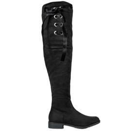 Ideal Shoes Muszkieterki Ze Wstążką czarne