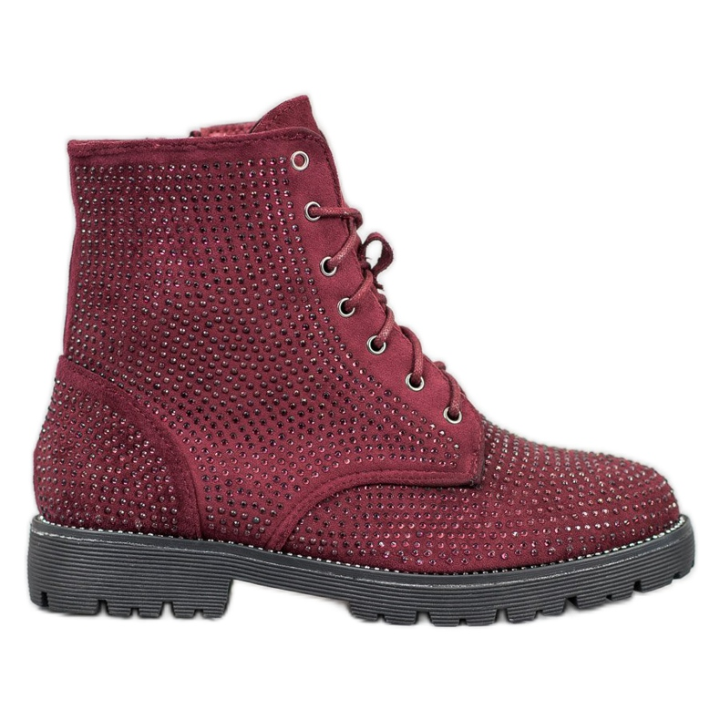Sweet Shoes Bordowe Zamszowe Botki czerwone
