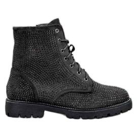 Sweet Shoes Czarne Zamszowe Botki