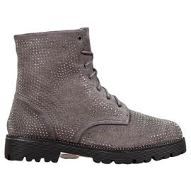 Sweet Shoes Szare Zamszowe Botki