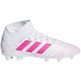 Buty piłkarskie adidas Nemeziz 18.3 Fg Jr CM8506 biały, różowy białe