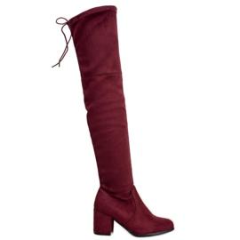 Ideal Shoes Zamszowe Muszkieterki czerwone