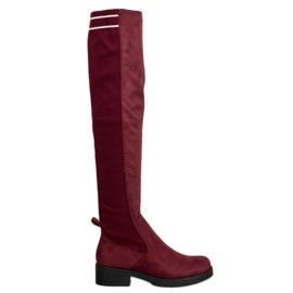 Ideal Shoes Wsuwane Zamszowe Kozaki czerwone