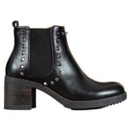 Top Shoes Botki Z Ćwiekami czarne