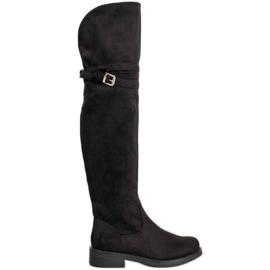 Ideal Shoes Eleganckie Muszkieterki Z Klamrą czarne