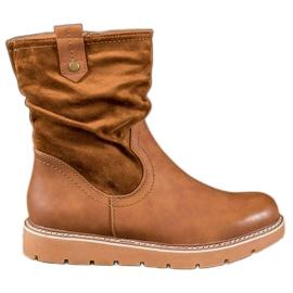 Ideal Shoes Workery Na Platformie brązowe