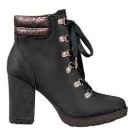 Sweet Shoes Sznurowane Botki Na Słupku czarne