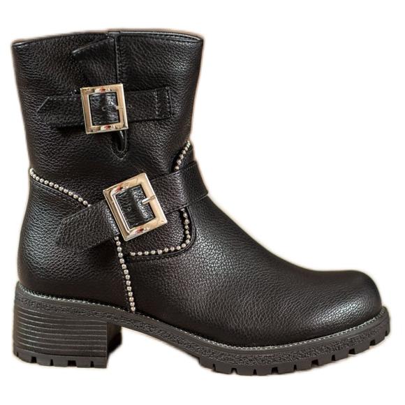 Lucky Shoes Workery Z Klamrami czarne