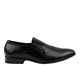 Czarne eleganckie półbuty mokasyny 6-317