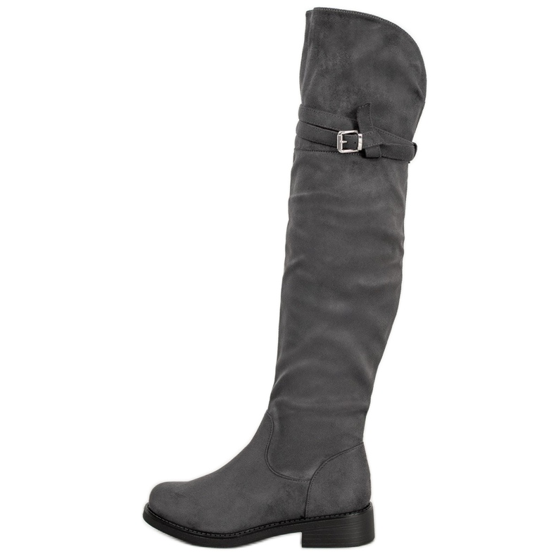 Ideal Shoes Eleganckie Muszkieterki Z Klamrą szare