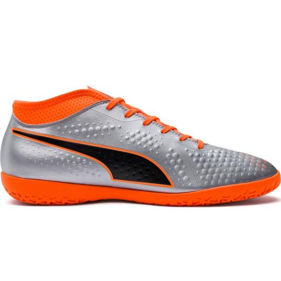Buty piłkarskie M Puma One 4 Syn It 104750 01 srebrny pomarańczowy, szary/srebrny