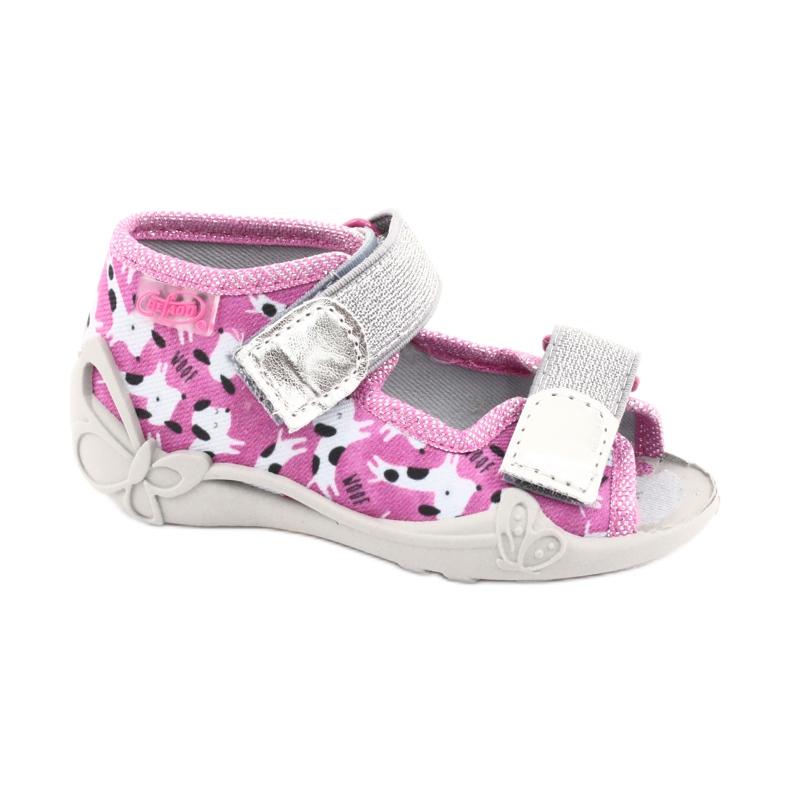 Befado obuwie dziecięce 242P095 białe czarne różowe szare